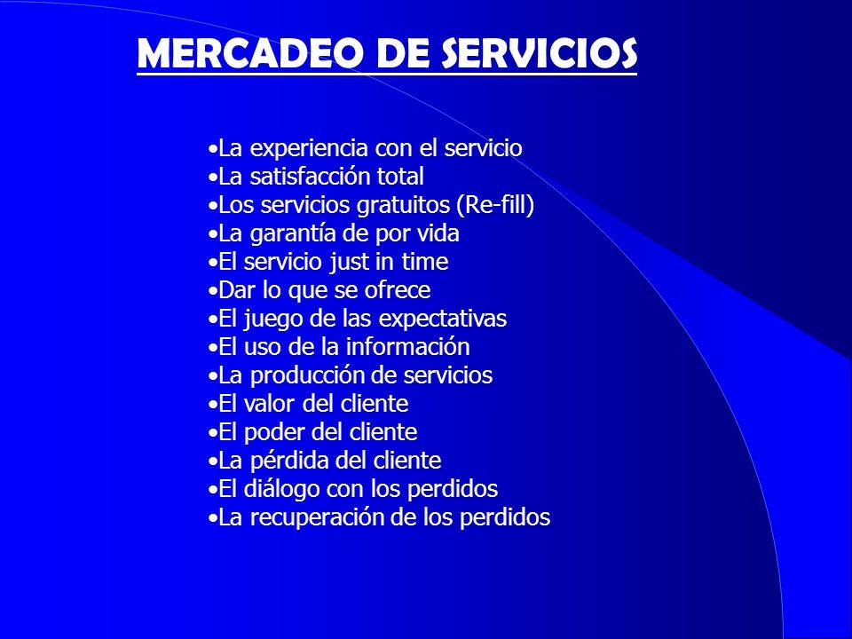 La experiencia con el servicio La satisfacción total Los servicios gratuitos (Re-fill) La garantía de por vida El servicio just in time Dar lo que se