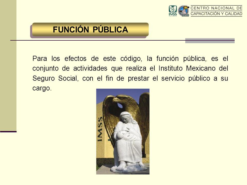Para los efectos de este código, la función pública, es el conjunto de actividades que realiza el Instituto Mexicano del Seguro Social, con el fin de