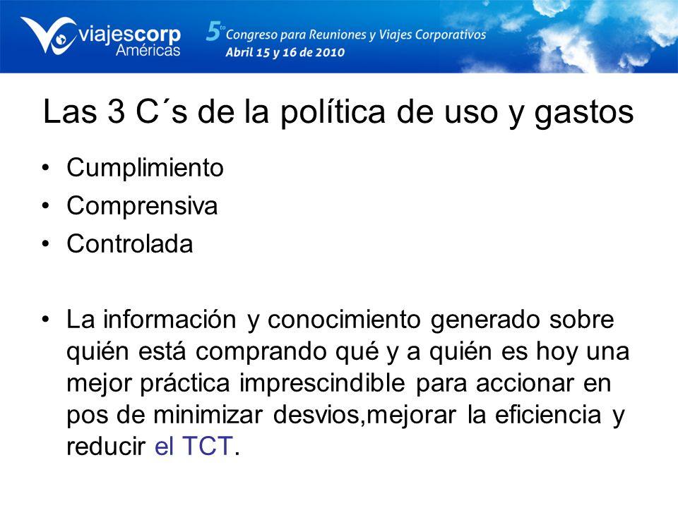 Las 3 C´s de la política de uso y gastos Cumplimiento Comprensiva Controlada La información y conocimiento generado sobre quién está comprando qué y a