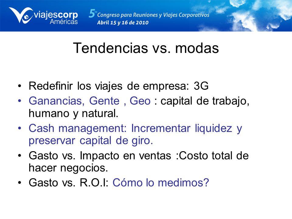 Tendencias vs. modas Redefinir los viajes de empresa: 3G Ganancias, Gente, Geo : capital de trabajo, humano y natural. Cash management: Incrementar li