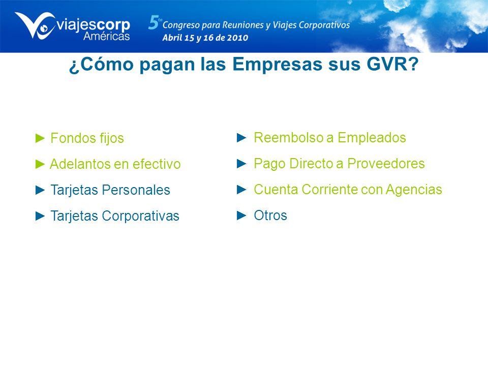 ¿Cómo pagan las Empresas sus GVR? Fondos fijos Adelantos en efectivo Tarjetas Personales Tarjetas Corporativas Reembolso a Empleados Pago Directo a Pr