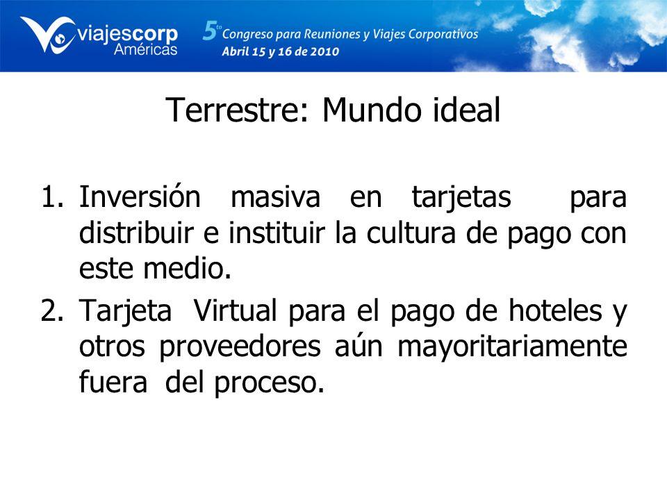 Terrestre: Mundo ideal 1.Inversión masiva en tarjetas para distribuir e instituir la cultura de pago con este medio. 2.Tarjeta Virtual para el pago de