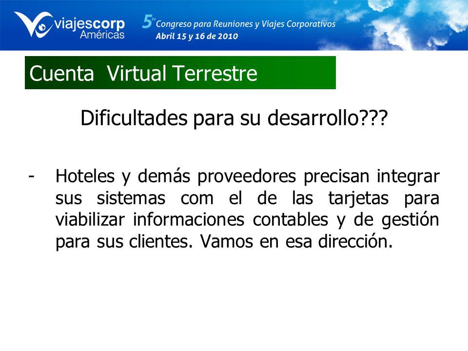 Cuenta Virtual Terrestre Dificultades para su desarrollo??? -Hoteles y demás proveedores precisan integrar sus sistemas com el de las tarjetas para vi