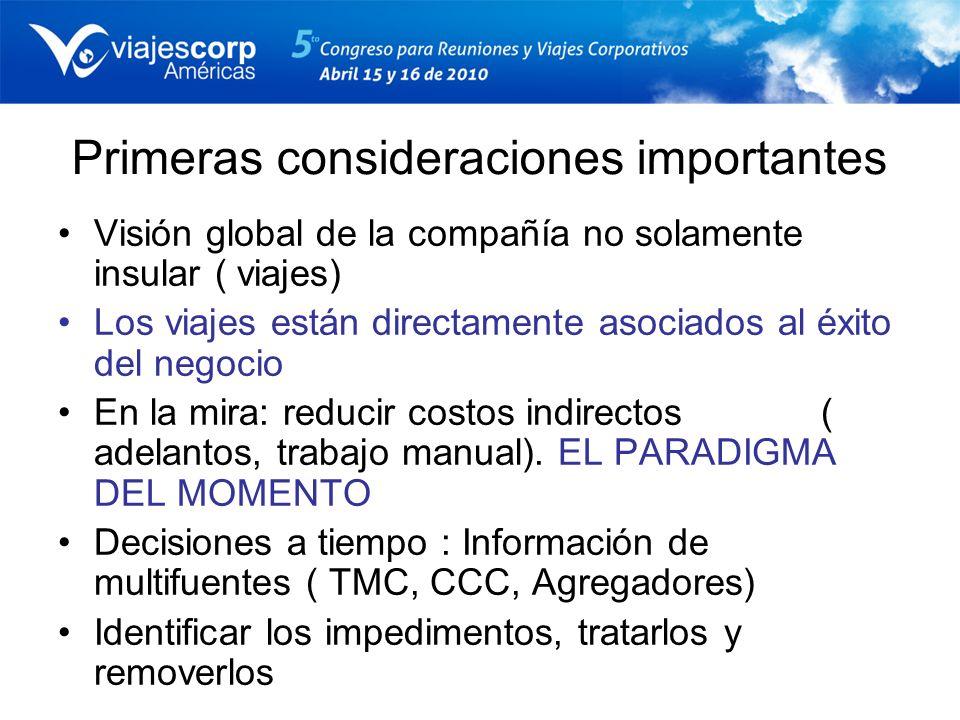 Primeras consideraciones importantes Visión global de la compañía no solamente insular ( viajes) Los viajes están directamente asociados al éxito del