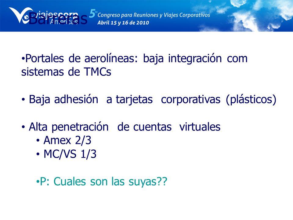 Barreras Portales de aerolíneas: baja integración com sistemas de TMCs Baja adhesión a tarjetas corporativas (plásticos) Alta penetración de cuentas v