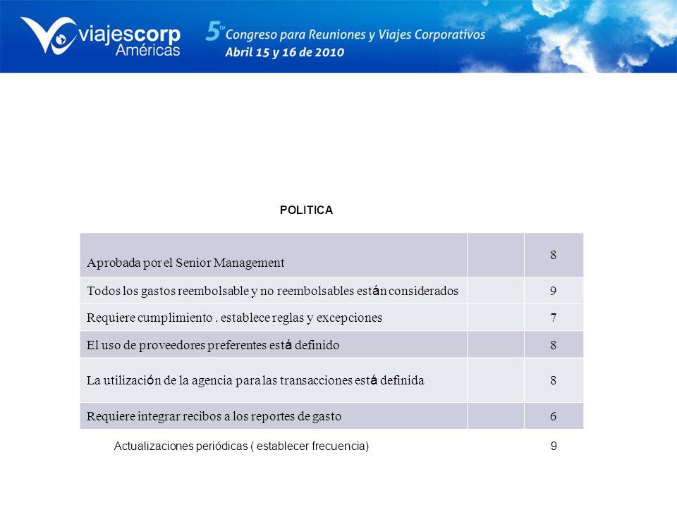 POLITICA Aprobada por el Senior Management 8 Todos los gastos reembolsable y no reembolsables est á n considerados 9 Requiere cumplimiento. establece