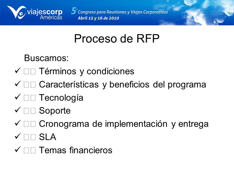Proceso de RFP Buscamos: Términos y condiciones Características y beneficios del programa Tecnología Soporte Cronograma de implementación y entrega SL
