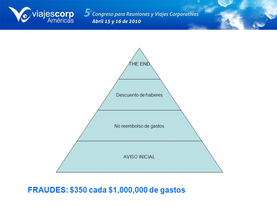 THE END Descuento de haberes No reembolso de gastos AVISO INICIAL FRAUDES: $350 cada $1,000,000 de gastos
