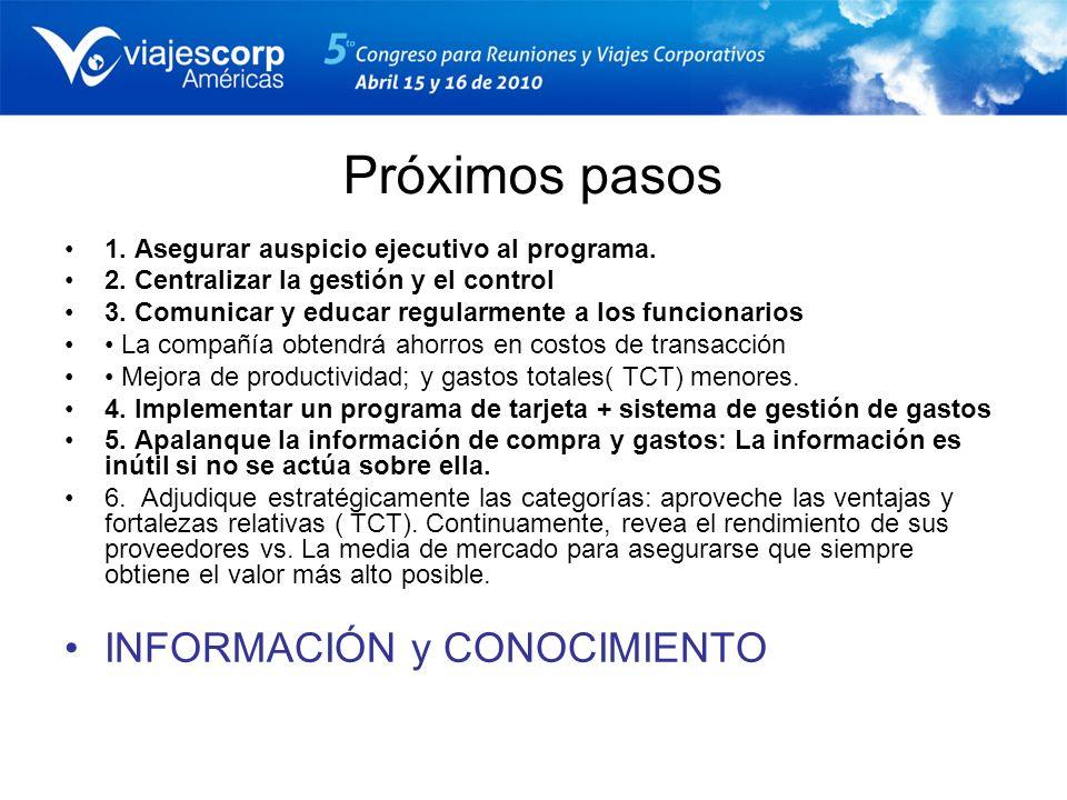 Próximos pasos 1. Asegurar auspicio ejecutivo al programa. 2. Centralizar la gestión y el control 3. Comunicar y educar regularmente a los funcionario