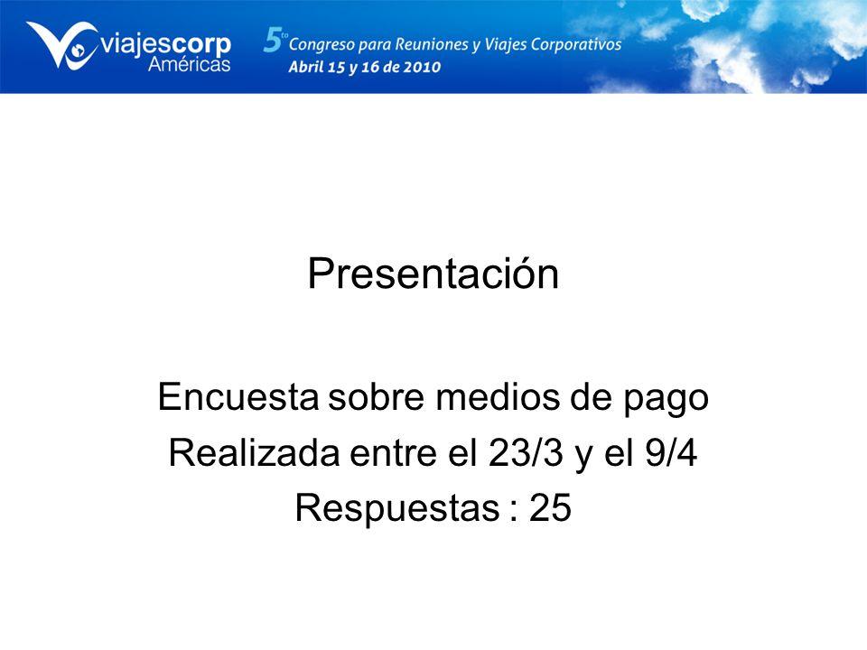 Presentación Encuesta sobre medios de pago Realizada entre el 23/3 y el 9/4 Respuestas : 25