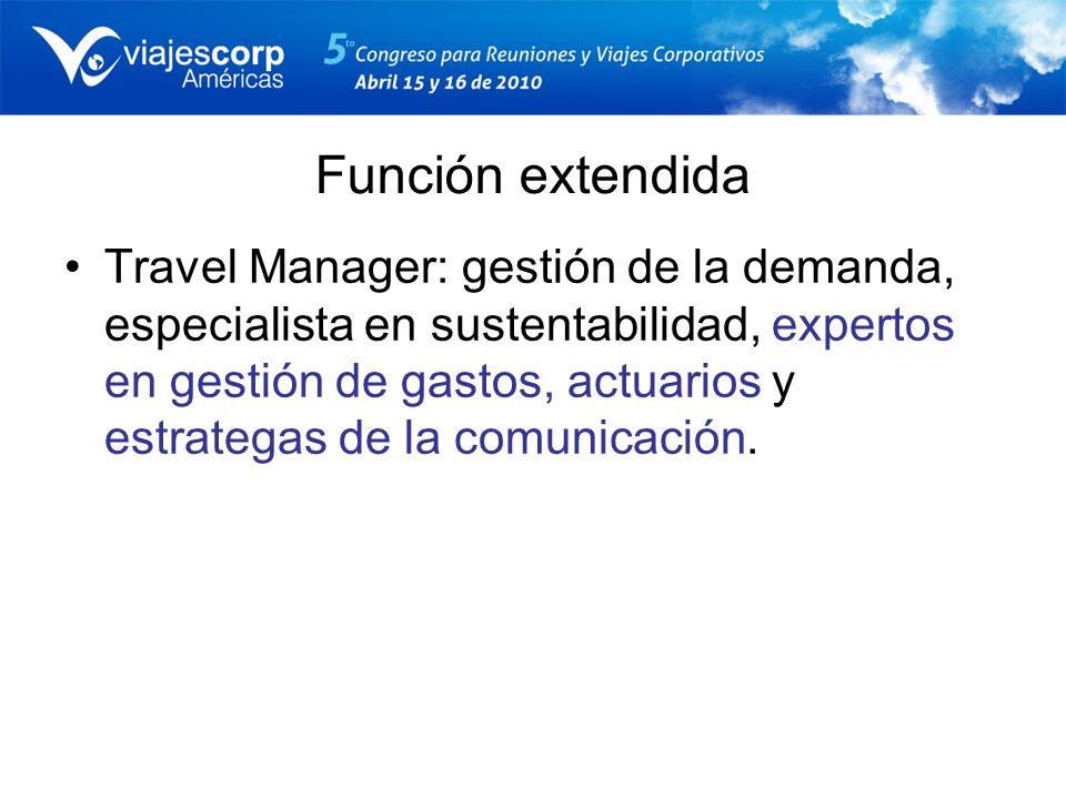 Función extendida Travel Manager: gestión de la demanda, especialista en sustentabilidad, expertos en gestión de gastos, actuarios y estrategas de la