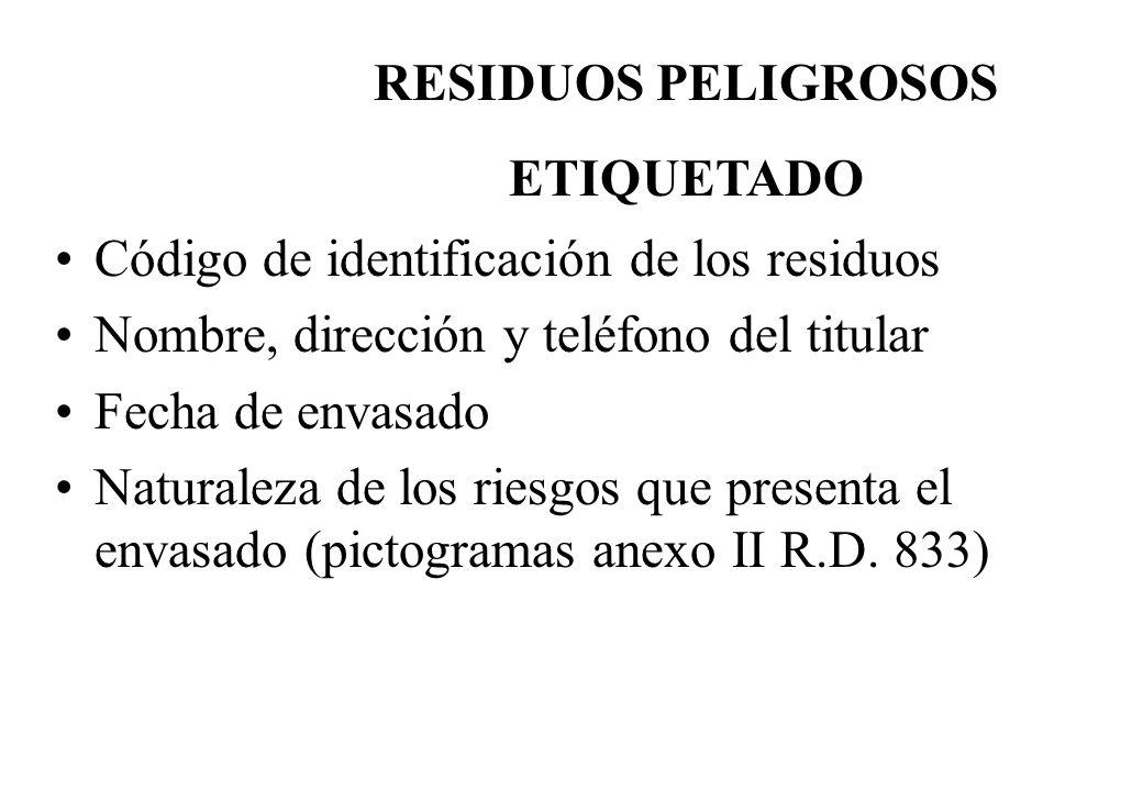 Código de identificación de los residuos Nombre, dirección y teléfono del titular Fecha de envasado Naturaleza de los riesgos que presenta el envasado