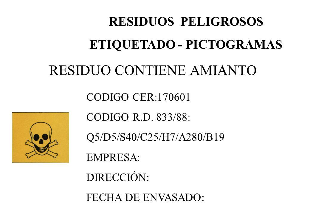 RESIDUO CONTIENE AMIANTO RESIDUOS PELIGROSOS ETIQUETADO - PICTOGRAMAS CODIGO CER:170601 CODIGO R.D. 833/88: Q5/D5/S40/C25/H7/A280/B19 EMPRESA: DIRECCI