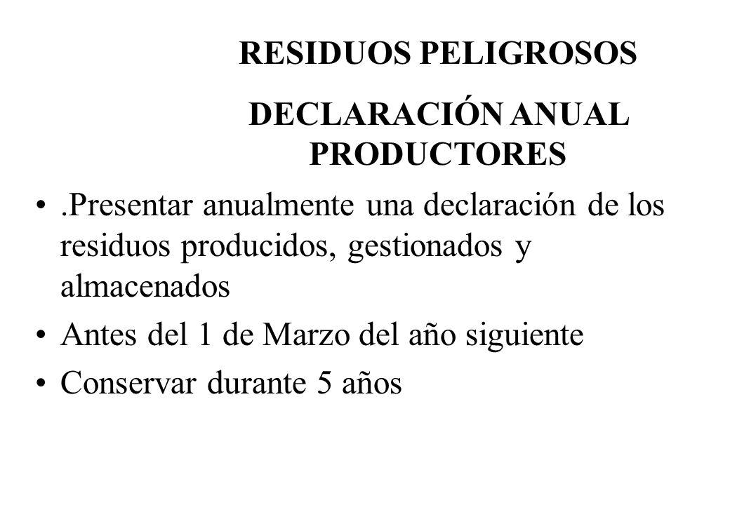 .Presentar anualmente una declaración de los residuos producidos, gestionados y almacenados Antes del 1 de Marzo del año siguiente Conservar durante 5