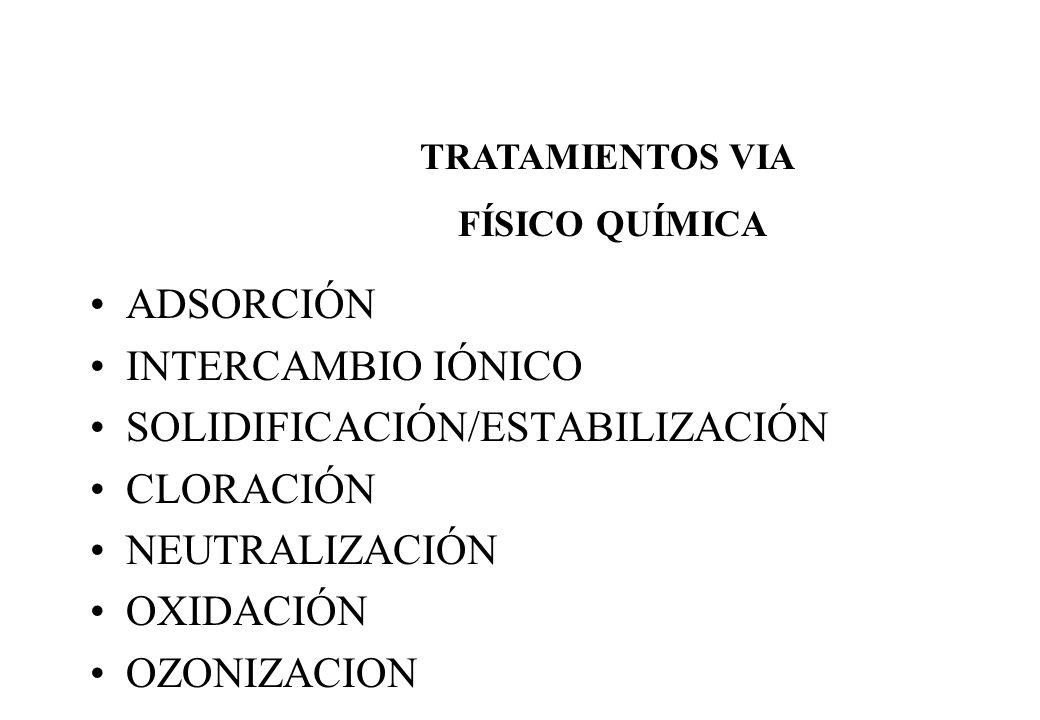 ADSORCIÓN INTERCAMBIO IÓNICO SOLIDIFICACIÓN/ESTABILIZACIÓN CLORACIÓN NEUTRALIZACIÓN OXIDACIÓN OZONIZACION TRATAMIENTOS VIA FÍSICO QUÍMICA