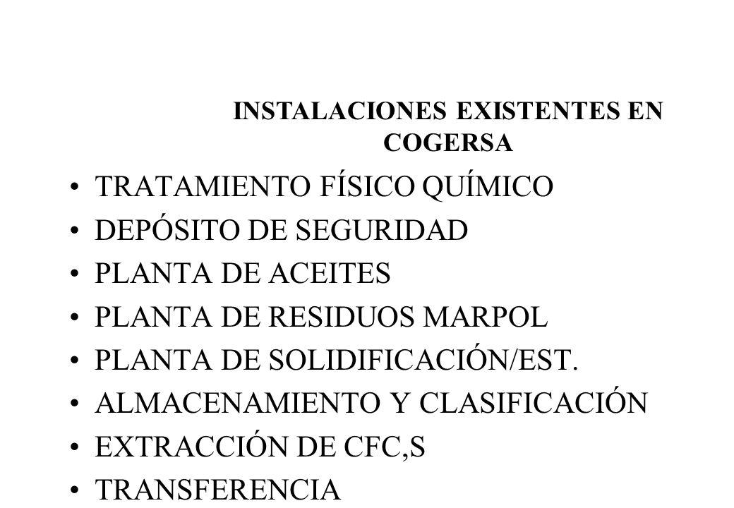 TRATAMIENTO FÍSICO QUÍMICO DEPÓSITO DE SEGURIDAD PLANTA DE ACEITES PLANTA DE RESIDUOS MARPOL PLANTA DE SOLIDIFICACIÓN/EST. ALMACENAMIENTO Y CLASIFICAC