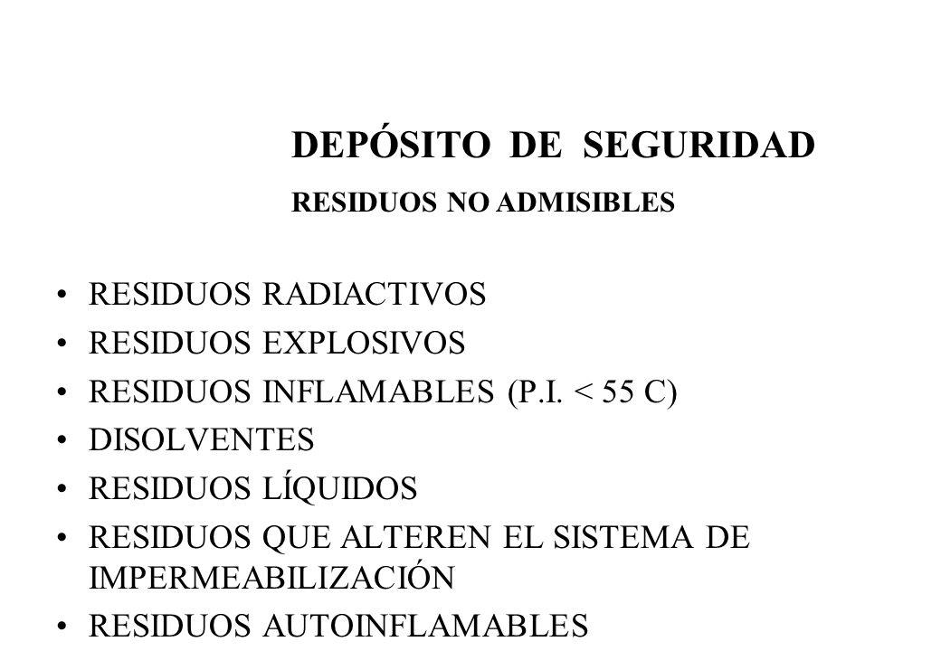 RESIDUOS RADIACTIVOS RESIDUOS EXPLOSIVOS RESIDUOS INFLAMABLES (P.I. < 55 C) DISOLVENTES RESIDUOS LÍQUIDOS RESIDUOS QUE ALTEREN EL SISTEMA DE IMPERMEAB