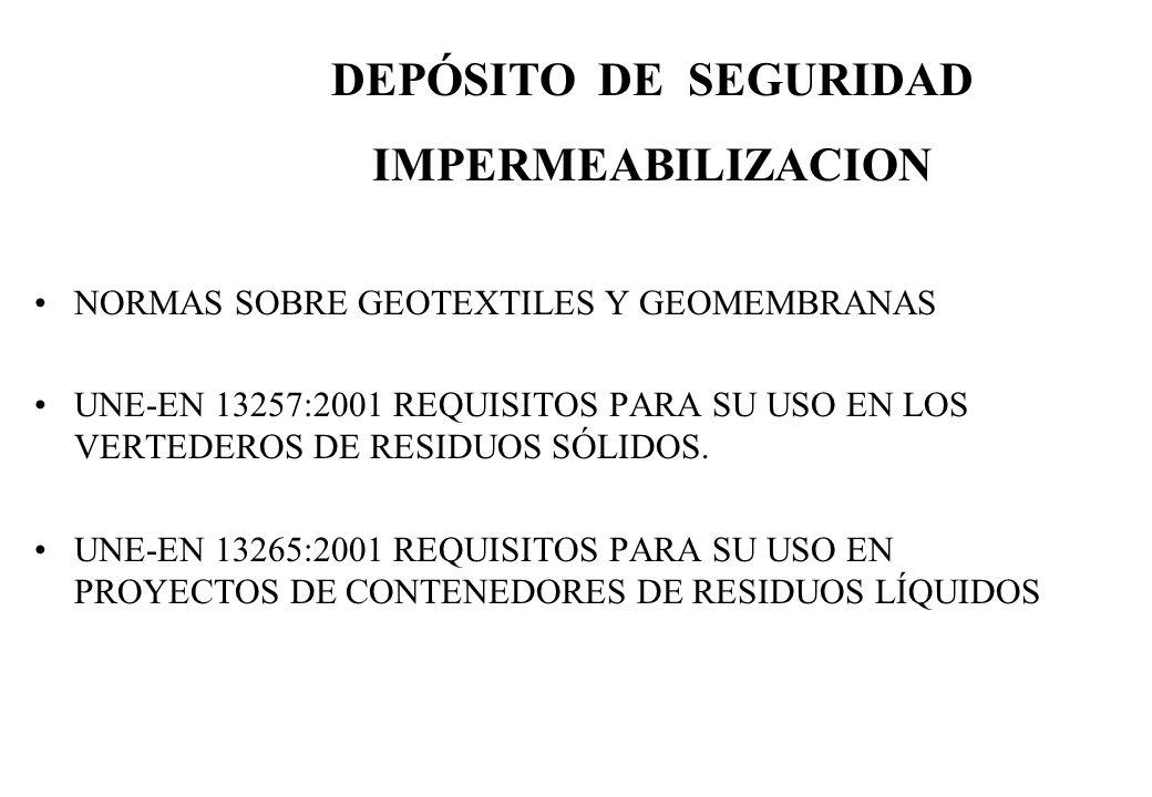 NORMAS SOBRE GEOTEXTILES Y GEOMEMBRANAS UNE-EN 13257:2001 REQUISITOS PARA SU USO EN LOS VERTEDEROS DE RESIDUOS SÓLIDOS. UNE-EN 13265:2001 REQUISITOS P