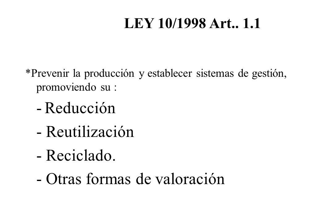 *Prevenir la producción y establecer sistemas de gestión, promoviendo su : - Reducción - Reutilización - Reciclado. - Otras formas de valoración LEY 1