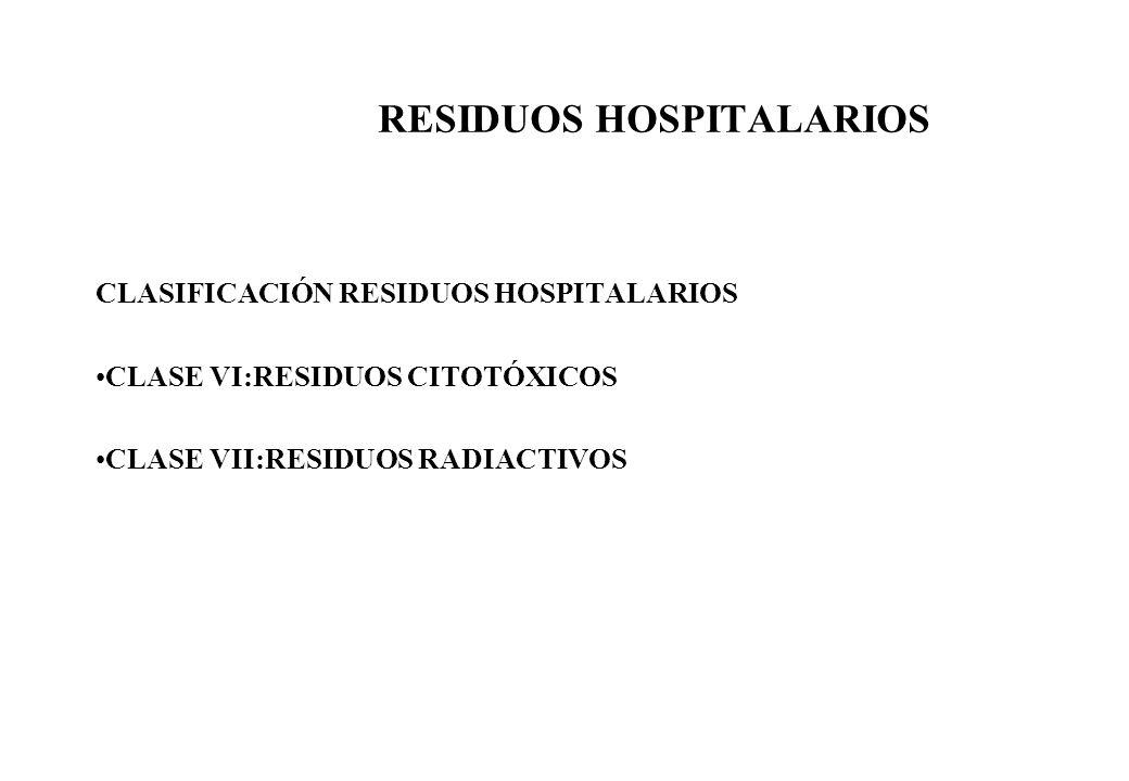 RESIDUOS HOSPITALARIOS CLASIFICACIÓN RESIDUOS HOSPITALARIOS CLASE VI:RESIDUOS CITOTÓXICOS CLASE VII:RESIDUOS RADIACTIVOS
