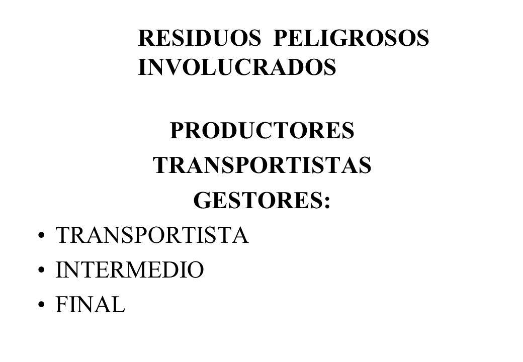 PRODUCTORES TRANSPORTISTAS GESTORES: TRANSPORTISTA INTERMEDIO FINAL RESIDUOS PELIGROSOS INVOLUCRADOS