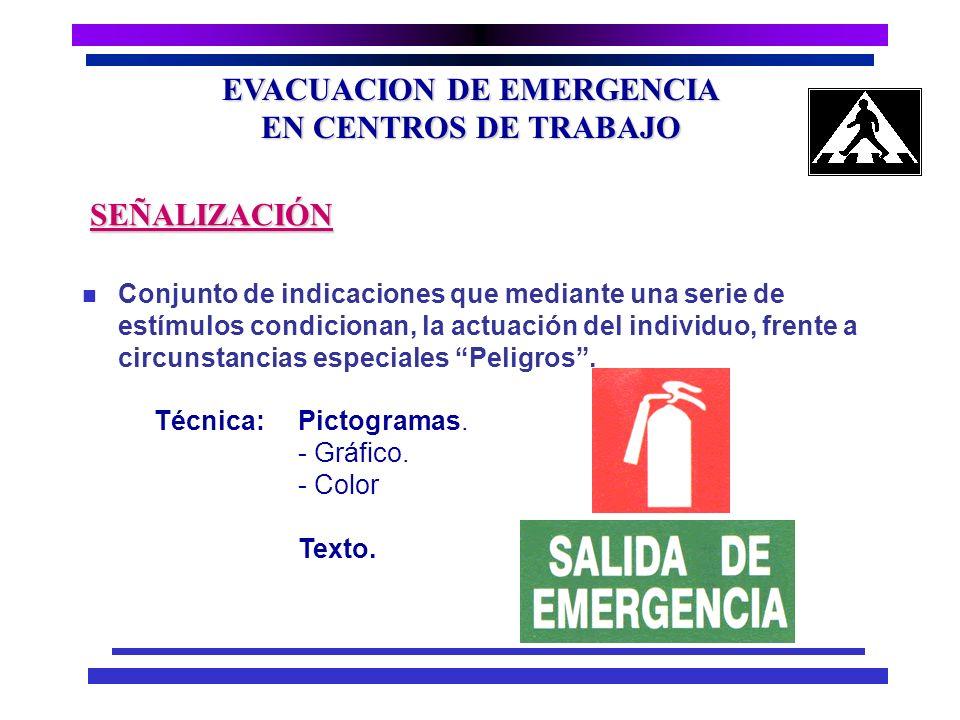 EVACUACION DE EMERGENCIA EN CENTROS DE TRABAJO MEDIDAS GENERALES SEGURIDAD PASILLOS SEÑALIZACION ILUMINACION DE EMERGENCIA Bien señalizados Anchura ad