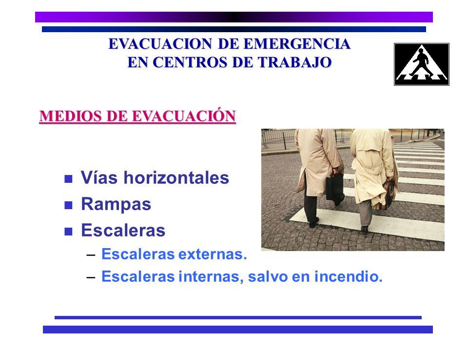 EVACUACION DE EMERGENCIA EN CENTROS DE TRABAJO n En vías de evacuación no debe ser menor a 200 lux. n En caso de falla total del sistema eléctrico. –S