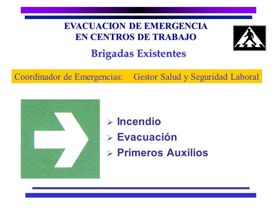EVACUACION DE EMERGENCIA EN CENTROS DE TRABAJO Peligros Existentes Incendio Temblor o Terremoto Búnker Gas Propano Calderas