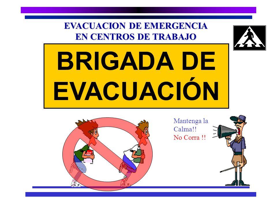 EVACUACION DE EMERGENCIA EN CENTROS DE TRABAJO Brigadas Existentes Incendio Evacuación Primeros Auxilios Coordinador de Emergencias: Gestor Salud y Se