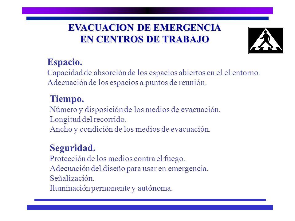 EVACUACION DE EMERGENCIA EN CENTROS DE TRABAJO n Permitir el desplazamiento de los ocupantes de la instalación a un lugar suficientemente seguro, en u