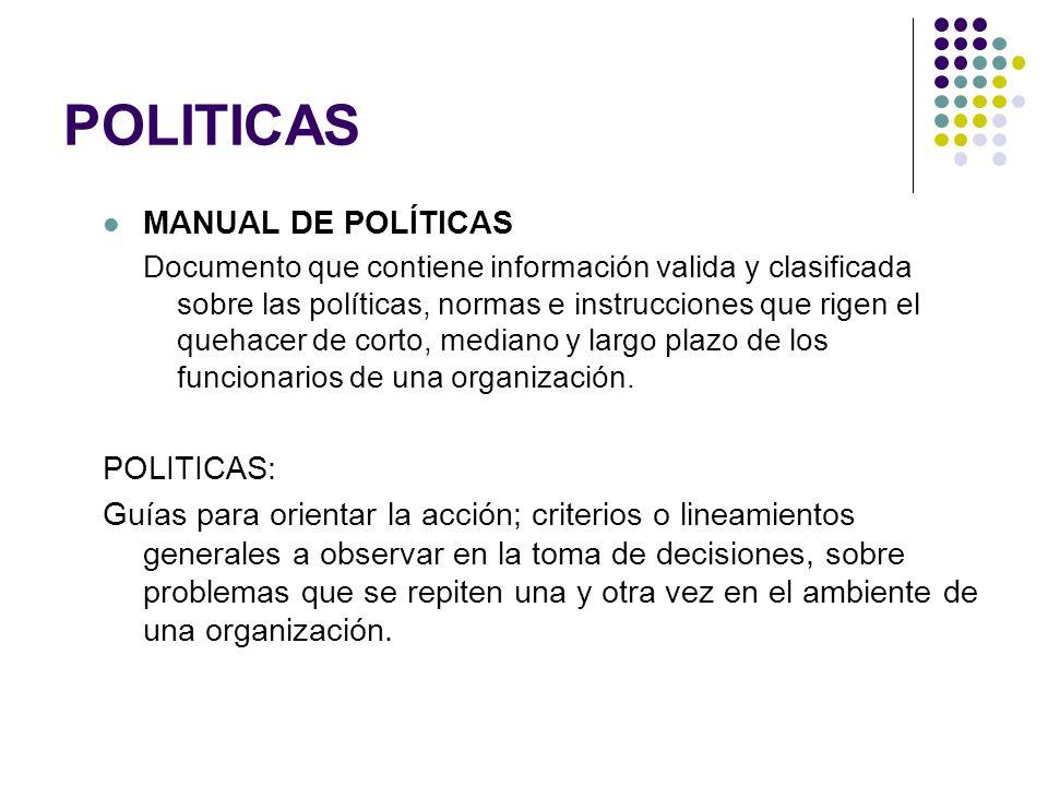 POLITICAS MANUAL DE POLÍTICAS Documento que contiene información valida y clasificada sobre las políticas, normas e instrucciones que rigen el quehace