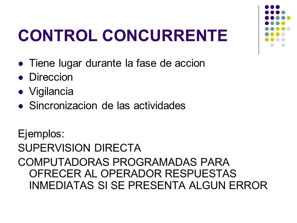 CONTROL CONCURRENTE Tiene lugar durante la fase de accion Direccion Vigilancia Sincronizacion de las actividades Ejemplos: SUPERVISION DIRECTA COMPUTA
