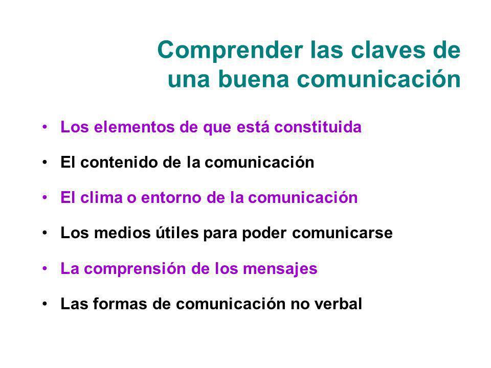 Comprender las claves de una buena comunicación Los elementos de que está constituida El contenido de la comunicación El clima o entorno de la comunic