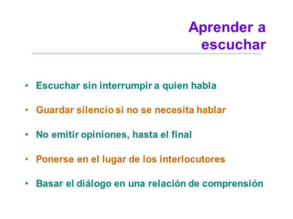 Aprender a escuchar Escuchar sin interrumpir a quien habla Guardar silencio si no se necesita hablar No emitir opiniones, hasta el final Ponerse en el