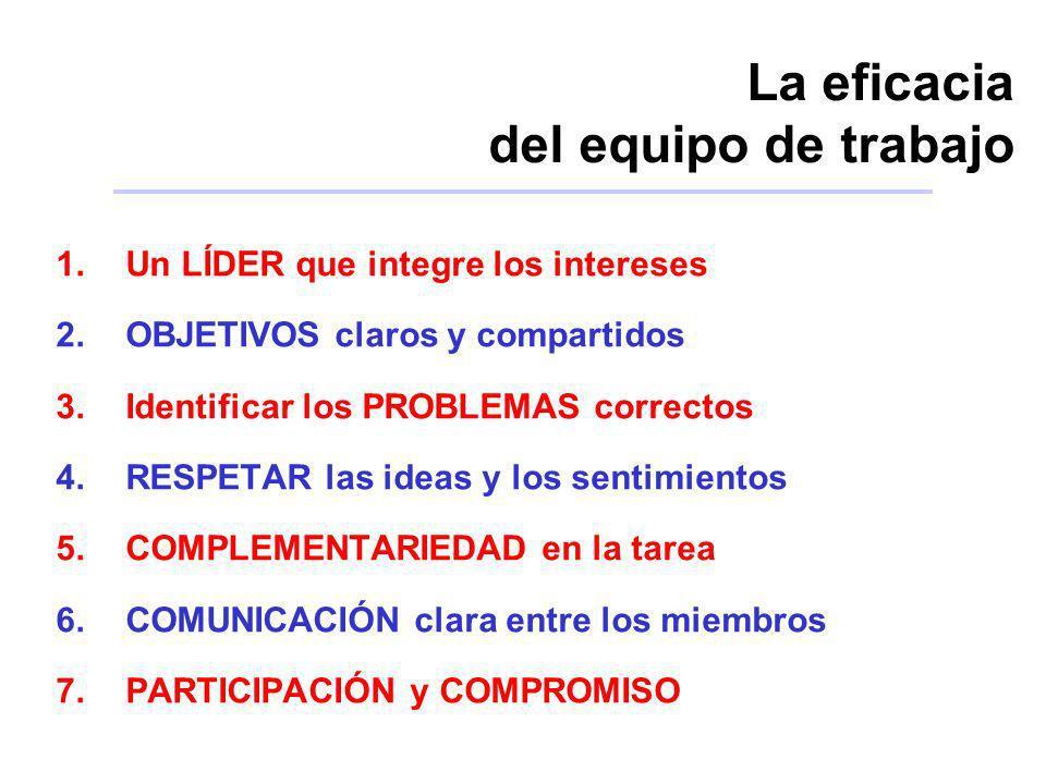 La eficacia del equipo de trabajo 1.Un LÍDER que integre los intereses 2.OBJETIVOS claros y compartidos 3.Identificar los PROBLEMAS correctos 4.RESPET