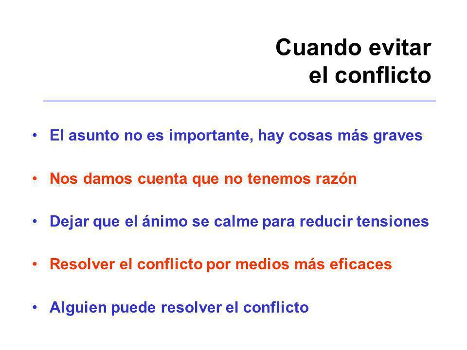 Cuando evitar el conflicto El asunto no es importante, hay cosas más graves Nos damos cuenta que no tenemos razón Dejar que el ánimo se calme para red