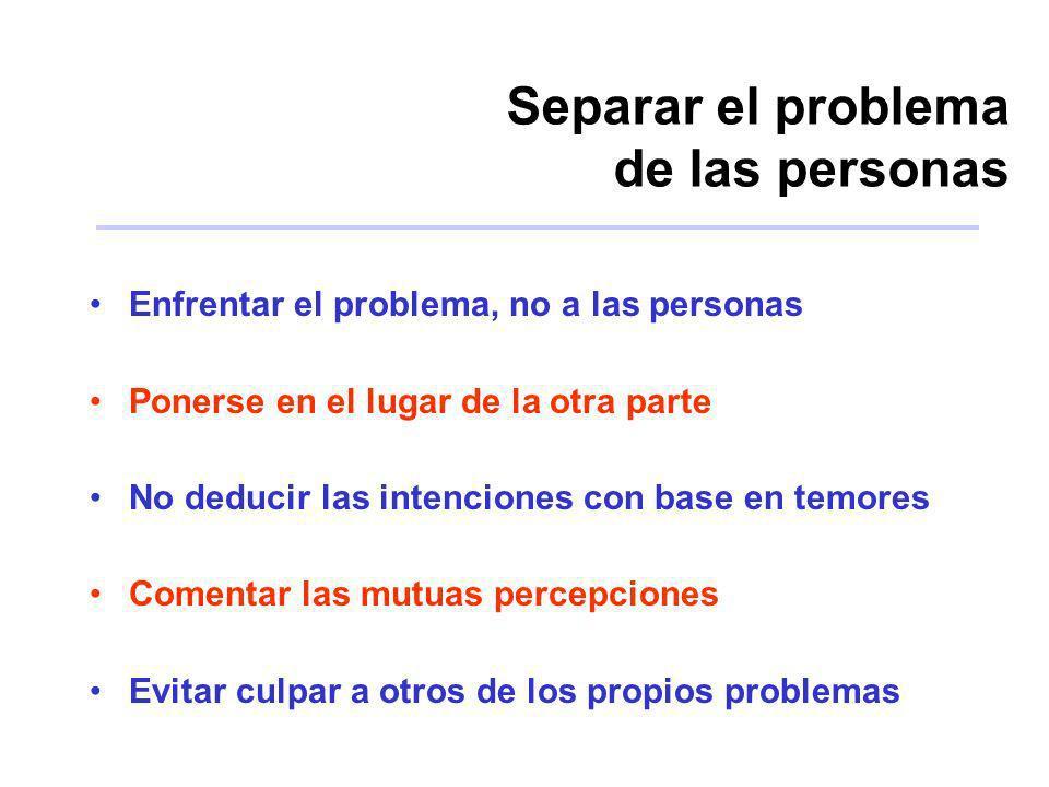 Separar el problema de las personas Enfrentar el problema, no a las personas Ponerse en el lugar de la otra parte No deducir las intenciones con base