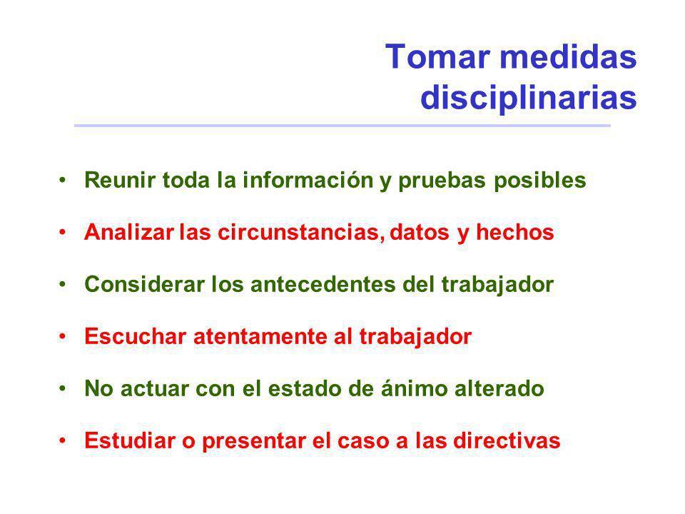 Tomar medidas disciplinarias Reunir toda la información y pruebas posibles Analizar las circunstancias, datos y hechos Considerar los antecedentes del