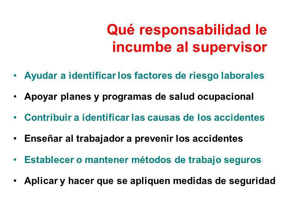 Qué responsabilidad le incumbe al supervisor Ayudar a identificar los factores de riesgo laborales Apoyar planes y programas de salud ocupacional Cont