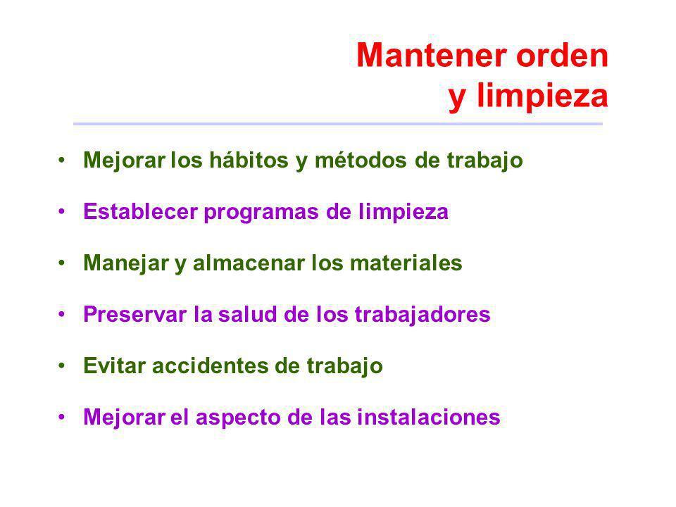 Mantener orden y limpieza Mejorar los hábitos y métodos de trabajo Establecer programas de limpieza Manejar y almacenar los materiales Preservar la sa