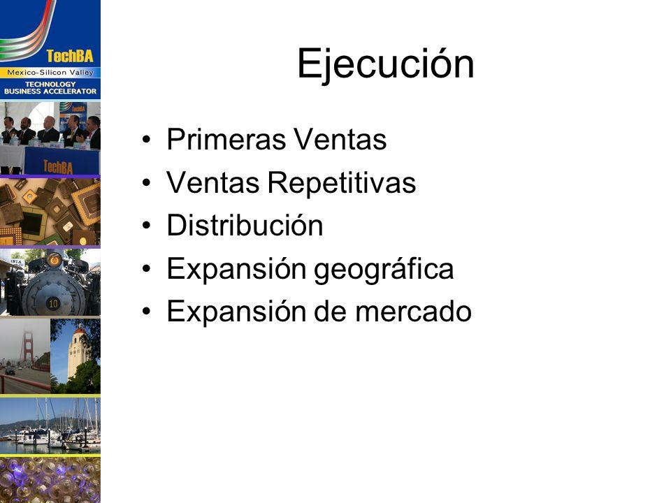 Ejecución Primeras Ventas Ventas Repetitivas Distribución Expansión geográfica Expansión de mercado