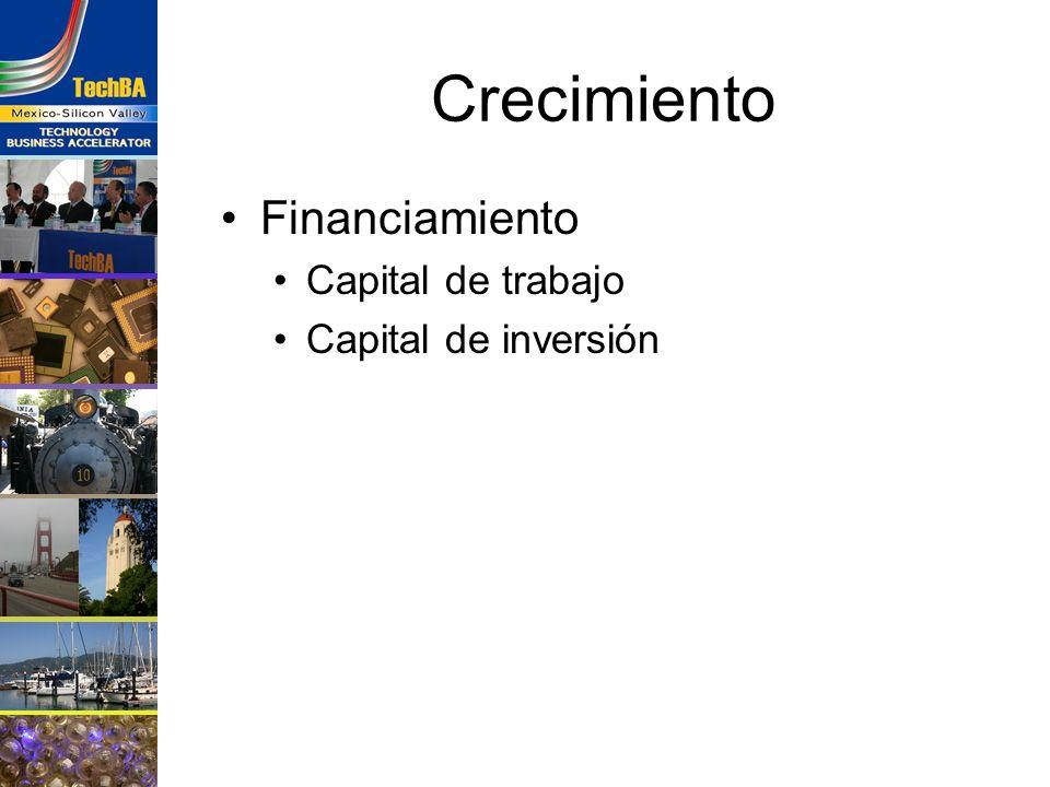 Crecimiento Financiamiento Capital de trabajo Capital de inversión