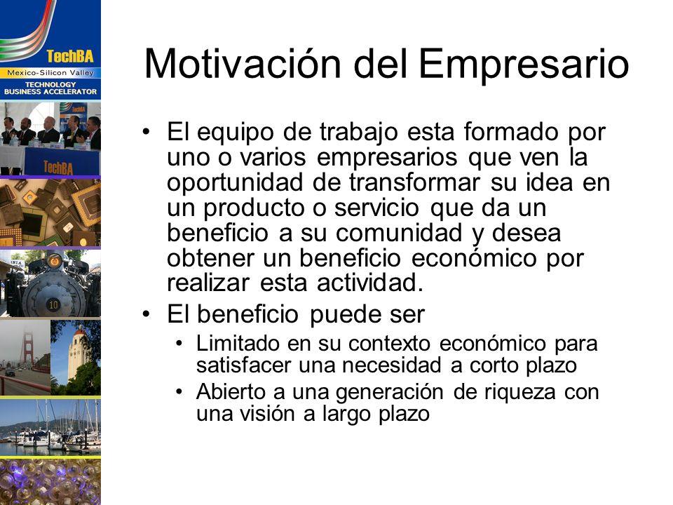 Motivación del Empresario El equipo de trabajo esta formado por uno o varios empresarios que ven la oportunidad de transformar su idea en un producto