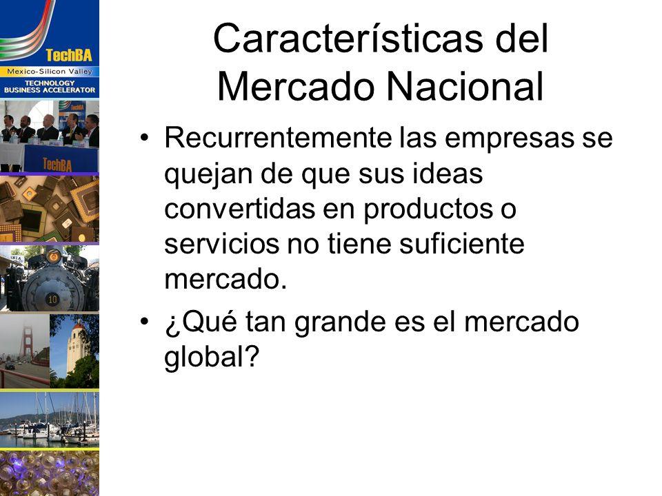 Características del Mercado Nacional Recurrentemente las empresas se quejan de que sus ideas convertidas en productos o servicios no tiene suficiente