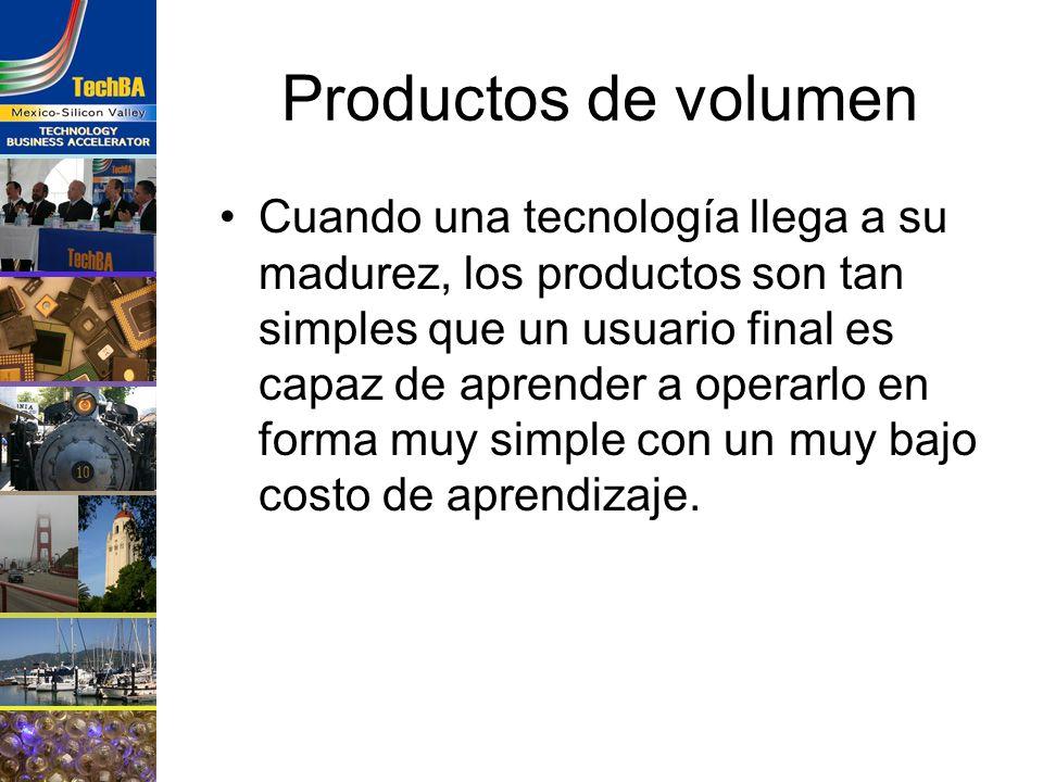Productos de volumen Cuando una tecnología llega a su madurez, los productos son tan simples que un usuario final es capaz de aprender a operarlo en f