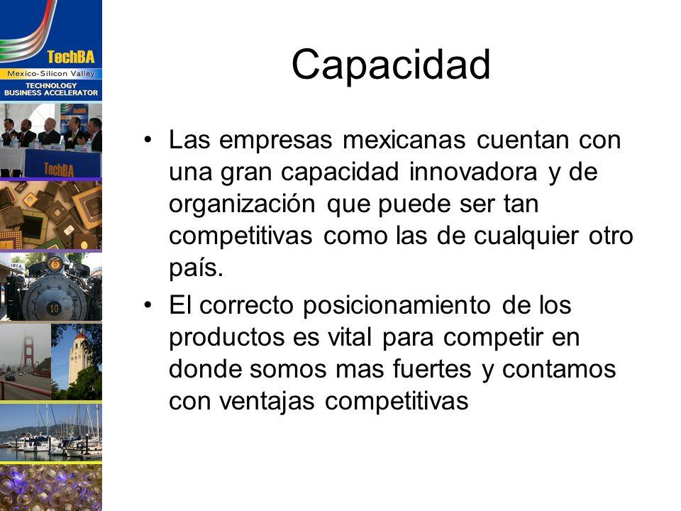 Capacidad Las empresas mexicanas cuentan con una gran capacidad innovadora y de organización que puede ser tan competitivas como las de cualquier otro
