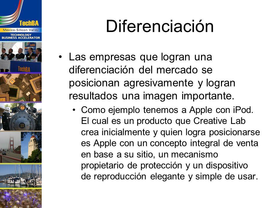 Diferenciación Las empresas que logran una diferenciación del mercado se posicionan agresivamente y logran resultados una imagen importante. Como ejem