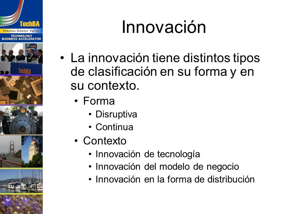 Innovación La innovación tiene distintos tipos de clasificación en su forma y en su contexto. Forma Disruptiva Continua Contexto Innovación de tecnolo