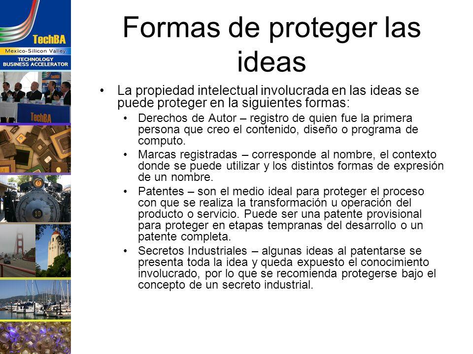 Formas de proteger las ideas La propiedad intelectual involucrada en las ideas se puede proteger en la siguientes formas: Derechos de Autor – registro