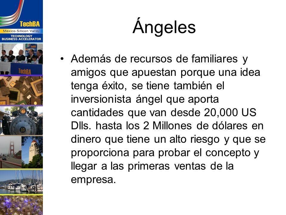 Ángeles Además de recursos de familiares y amigos que apuestan porque una idea tenga éxito, se tiene también el inversionista ángel que aporta cantida